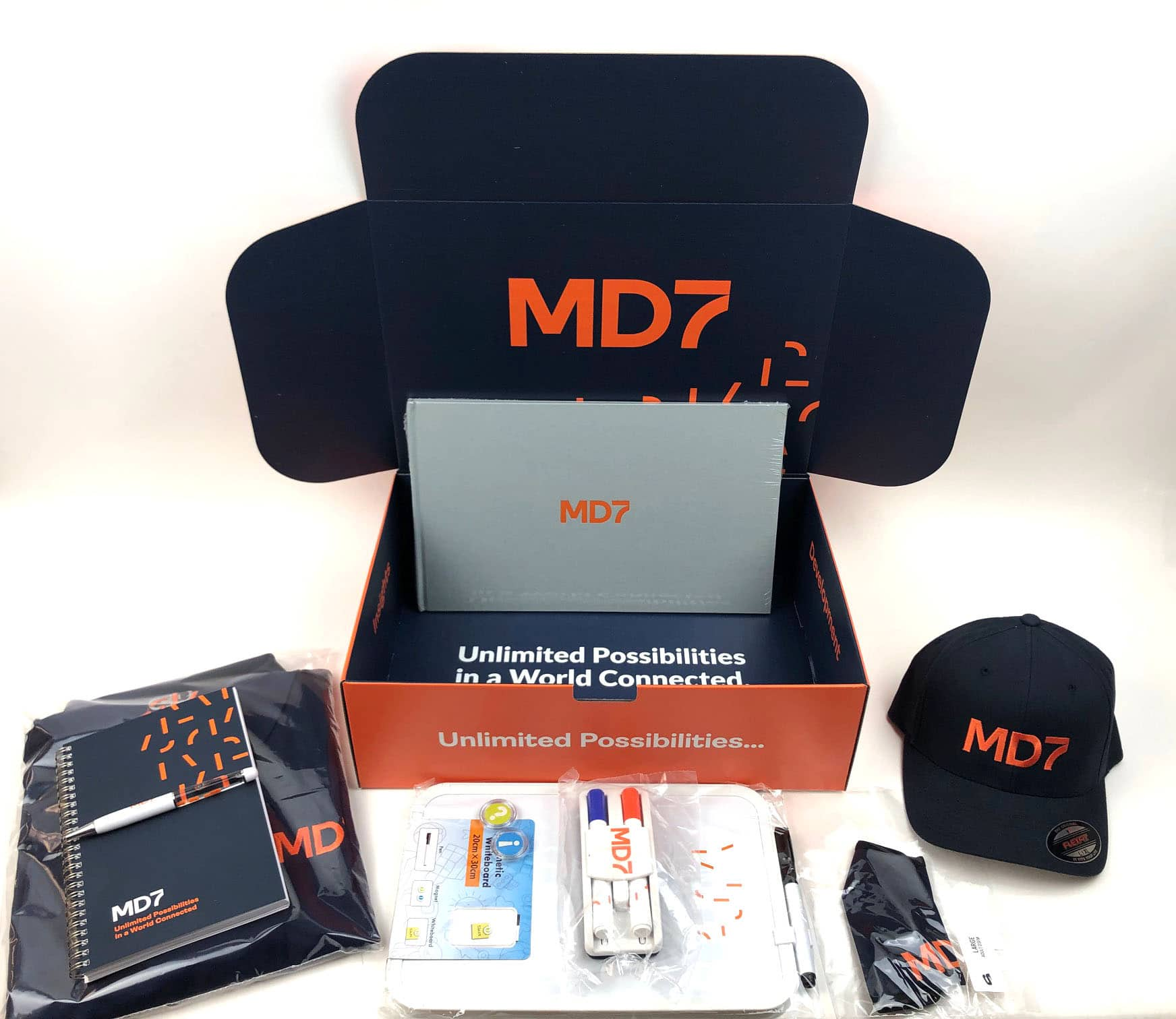 MD7 orange box with swag for brand reveal
